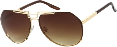 Angle of SW Aviator Style #1445 in Gold/Brown Frame with Amber Lenses, Women's and Men's