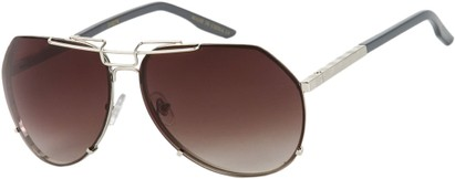 Angle of SW Aviator Style #1445 in Silver/Grey Frame with Smoke Lenses, Women's and Men's