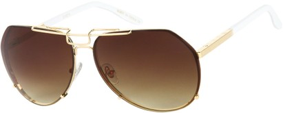 Angle of SW Aviator Style #1445 in Gold/White Frame with Amber Lenses, Women's and Men's