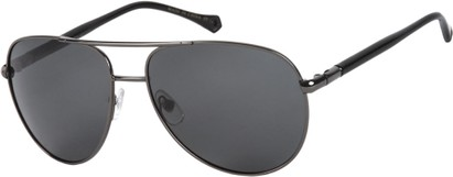 Angle of SW Polarized Aviator Style #542 in Grey Frame with Grey Lenses, Women's and Men's