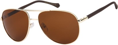 Angle of SW Polarized Aviator Style #542 in Gold Frame with Brown Lenses, Women's and Men's