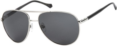 Angle of SW Polarized Aviator Style #542 in Silver Frame with Grey Lenses, Women's and Men's