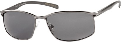 Angle of Summit #8098 in Grey Aluminum Frame with Grey Lenses, Women's and Men's Square Sunglasses