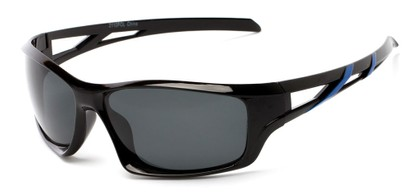 Angle of Red Rock #2110 in Black and Blue Frame with Smoke Lenses, Women's and Men's Sport & Wrap-Around Sunglasses