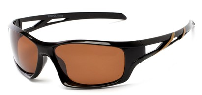 Angle of Red Rock #2110 in Black and Gold Frame with Amber Lenses, Women's and Men's Sport & Wrap-Around Sunglasses