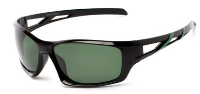 Angle of Red Rock #2110 in Black and Green Frame with Green Lenses, Women's and Men's Sport & Wrap-Around Sunglasses