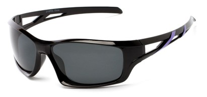 Angle of Red Rock #2110 in Black and Purple Frame with Smoke Lenses, Women's and Men's Sport & Wrap-Around Sunglasses