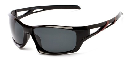 Angle of Red Rock #2110 in Black and Red Frame with Smoke Lenses, Women's and Men's Sport & Wrap-Around Sunglasses