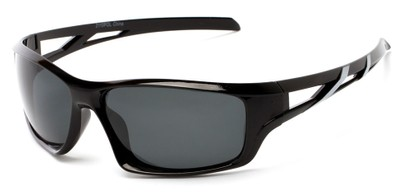 Angle of Red Rock #2110 in Black and Silver Frame with Smoke Lenses, Women's and Men's Sport & Wrap-Around Sunglasses