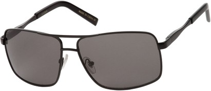 Angle of SW Aviator Style #1443 in Black Frame with Grey Lenses, Women's and Men's