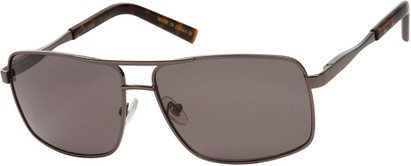 Angle of SW Aviator Style #1443 in Grey Frame with Grey Lenses, Women's and Men's