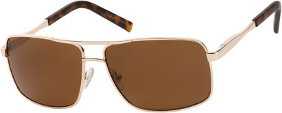 Angle of SW Aviator Style #1443 in Gold Frame with Amber Lenses, Women's and Men's