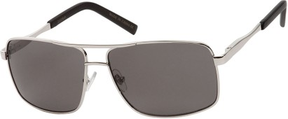 Angle of SW Aviator Style #1443 in Silver Frame with Grey Lenses, Women's and Men's