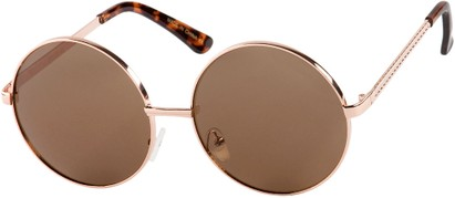 Angle of Nova #5399 in Gold/Tortoise Frame with Amber Lenses, Women's and Men's Round Sunglasses