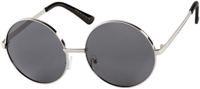Angle of Nova #5399 in Silver Frame with Grey Lenses, Women's and Men's Round Sunglasses