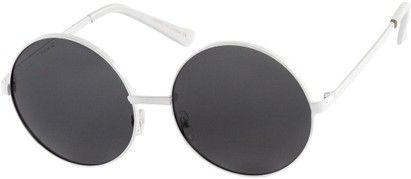 Angle of Nova #5399 in White Frame with Grey Lenses, Women's and Men's Round Sunglasses