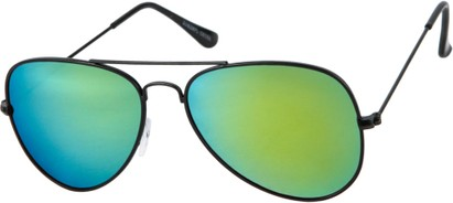 Angle of Santorini #1985 in Black Frame with Yellow/Green Mirrored Lenses, Women's and Men's Aviator Sunglasses