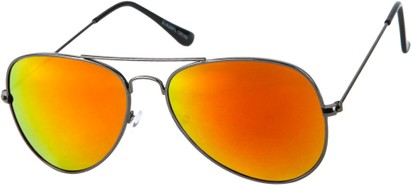 Angle of Santorini #1985 in Grey Frame with Orange Mirrored Lenses, Women's and Men's Aviator Sunglasses