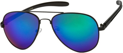 Angle of SW Mirrored Aviator #8245 in Black Frame with Green Mirrored Lenses, Women's and Men's