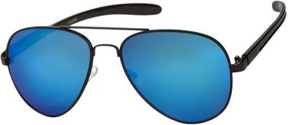 Angle of SW Mirrored Aviator #8245 in Black Frame with Blue Mirrored Lenses, Women's and Men's