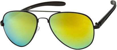 Angle of SW Mirrored Aviator #8245 in Black Frame with Yellow Mirrored Lenses, Women's and Men's