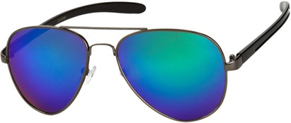 Angle of SW Mirrored Aviator #8245 in Grey/Black Frame with Green Mirrored Lenses, Women's and Men's