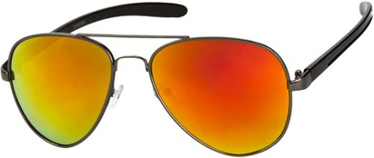 Angle of SW Mirrored Aviator #8245 in Grey/Black Frame with Orange Mirrored Lenses, Women's and Men's