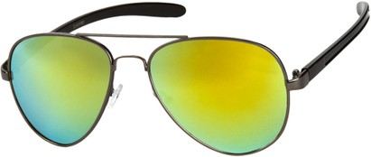 Angle of SW Mirrored Aviator #8245 in Grey/Black Frame with Yellow Mirrored Lenses, Women's and Men's