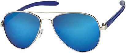 Angle of SW Mirrored Aviator #8245 in Silver/Blue Frame with Blue Mirrored Lenses, Women's and Men's