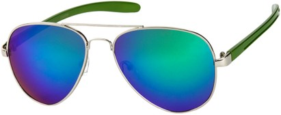 Angle of SW Mirrored Aviator #8245 in Silver/Green Frame with Green Mirrored Lenses, Women's and Men's