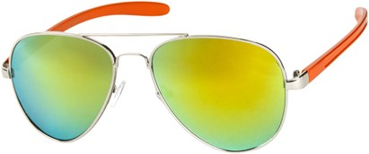 Angle of SW Mirrored Aviator #8245 in Silver/Orange Frame with Yellow Mirrored Lenses, Women's and Men's