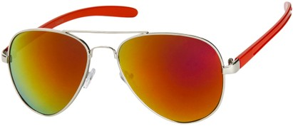Angle of SW Mirrored Aviator #8245 in Silver/Red Frame with Orange Mirrored Lenses, Women's and Men's