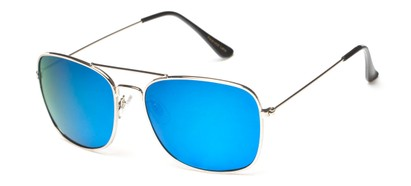 Angle of Aspen #365 in Silver Frame with Blue Mirrored Lenses, Women's and Men's Aviator Sunglasses