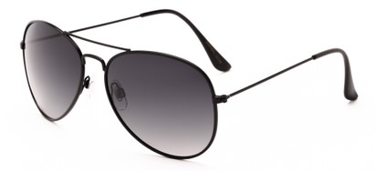 Angle of Antigua #2169 in Black Frame with Smoke Gradient Lenses, Women's and Men's Aviator Sunglasses