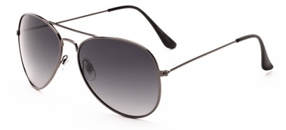 Angle of Antigua #2169 in Grey Frame with Smoke Gradient Lenses, Women's and Men's Aviator Sunglasses