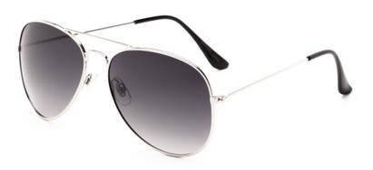 Angle of Antigua #2169 in Silver Frame with Smoke Gradient Lenses, Women's and Men's Aviator Sunglasses