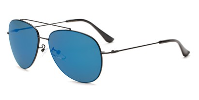 Angle of Poseidon #2176 in Black Frame with Blue Mirrored Lenses, Women's and Men's Aviator Sunglasses
