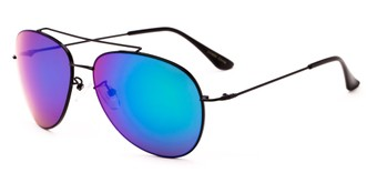 Angle of Poseidon #2176 in Black Frame with Blue/Green Mirrored Lenses, Women's and Men's Aviator Sunglasses