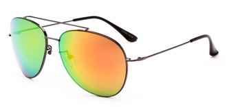 Angle of Poseidon #2176 in Grey Frame with Orange/Green Mirrored Lenses, Women's and Men's Aviator Sunglasses