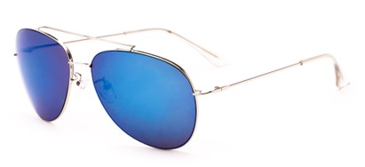 Angle of Poseidon #2176 in Silver Frame with Blue Mirrored Lenses, Women's and Men's Aviator Sunglasses