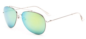Angle of Poseidon #2176 in Silver Frame with Green/Yellow Mirrored Lenses, Women's and Men's Aviator Sunglasses