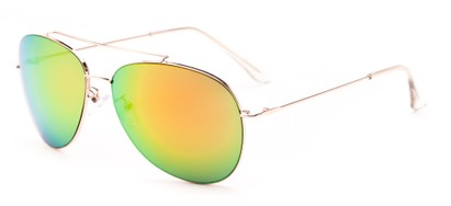 Angle of Poseidon #2176 in Gold Frame with Orange/Green Mirrored Lenses, Women's and Men's Aviator Sunglasses