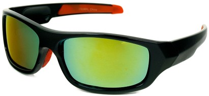 Angle of Ripcord #2194 in Black Frame with Yellow Mirrored Lenses, Men's Sport & Wrap-Around Sunglasses