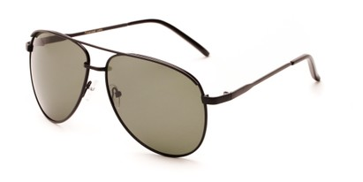 Angle of Hammer #2182 in Black Frame with Dark Green Lenses, Women's and Men's Aviator Sunglasses