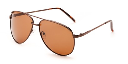 Angle of Hammer #2182 in Bronze Frame with Dark Brown Lenses, Women's and Men's Aviator Sunglasses