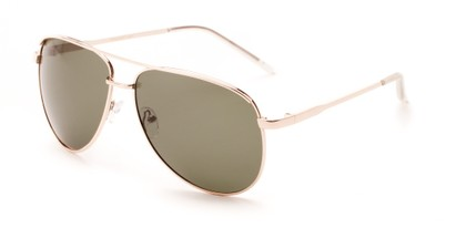 Angle of Hammer #2182 in Gold Frame with Dark Green Lenses, Women's and Men's Aviator Sunglasses