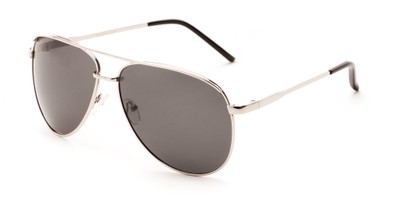 Angle of Hammer #2182 in Silver Frame with Dark Grey Lenses, Women's and Men's Aviator Sunglasses