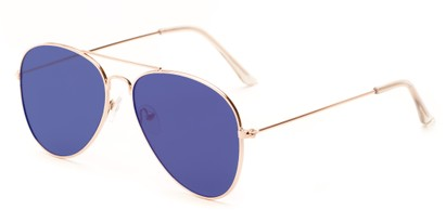 Angle of Knox #2186 in Gold Frame with Blue Lenses, Women's and Men's Aviator Sunglasses