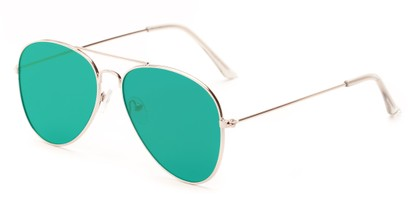 Angle of Knox #2186 in Silver Frame with Green Lenses, Women's and Men's Aviator Sunglasses