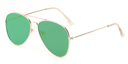 Angle of Knox #2186 in Gold Frame with Green Lenses, Women's and Men's Aviator Sunglasses
